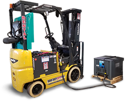 Forklift and charging battery at Mid Atlantic
