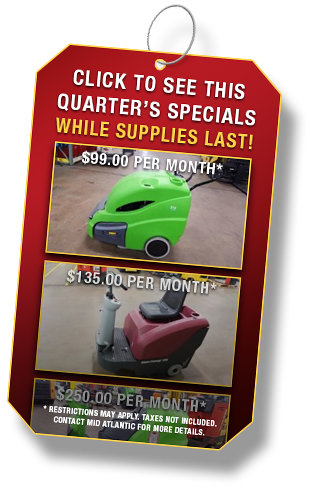 Industrial Sweeper and Scrubber Specials from Mid Atlantic Industrial Equipment