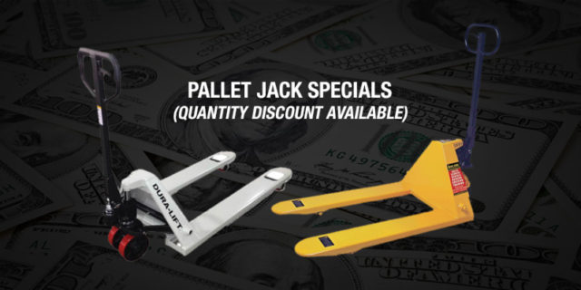 special discoounts on pallet jacks and hand trucks